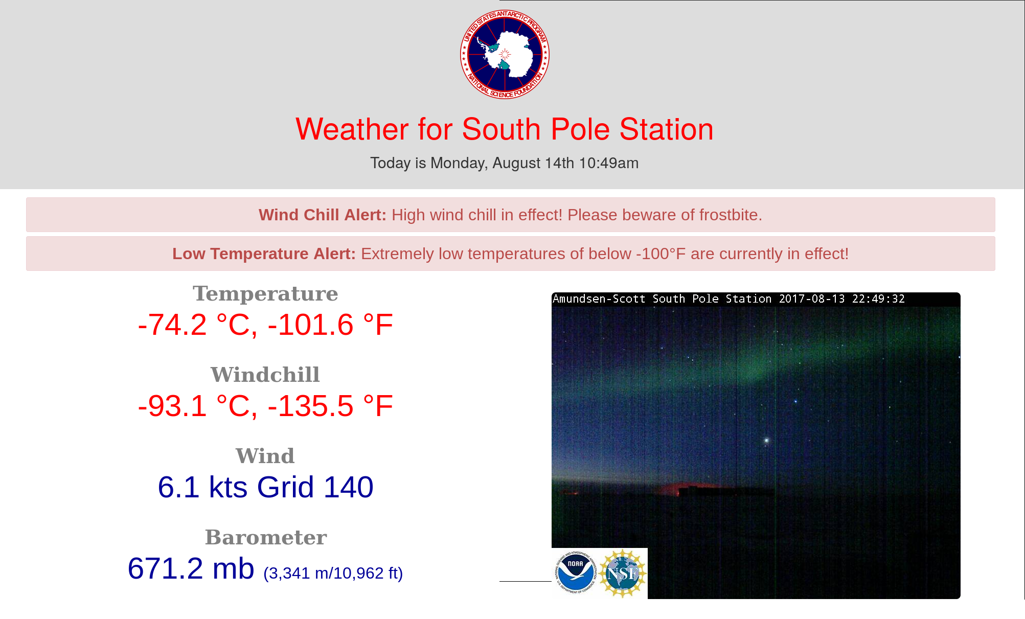 Temperature display at the south pole station