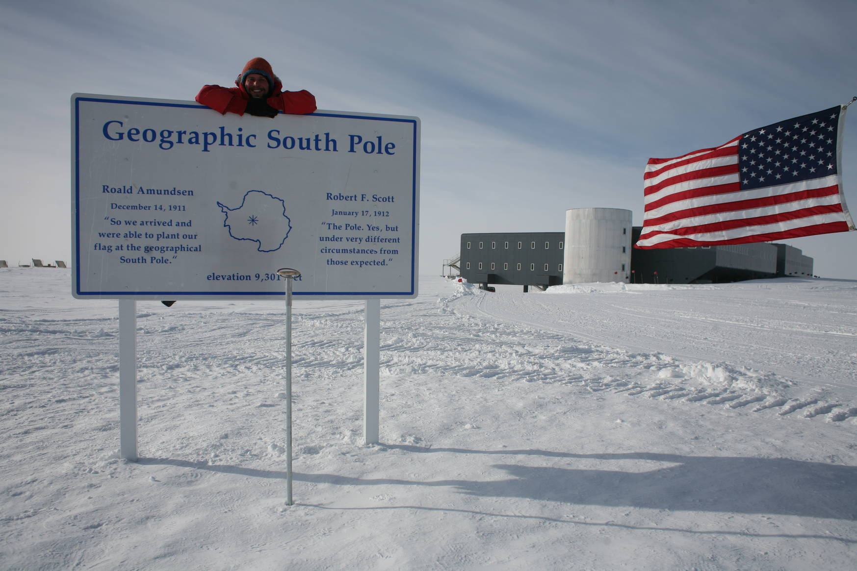 The actual geographical south pole moves with the ice, a few meters every year. Every winter crew produces a marker for the next year, the new marker is placed at New Year's.
