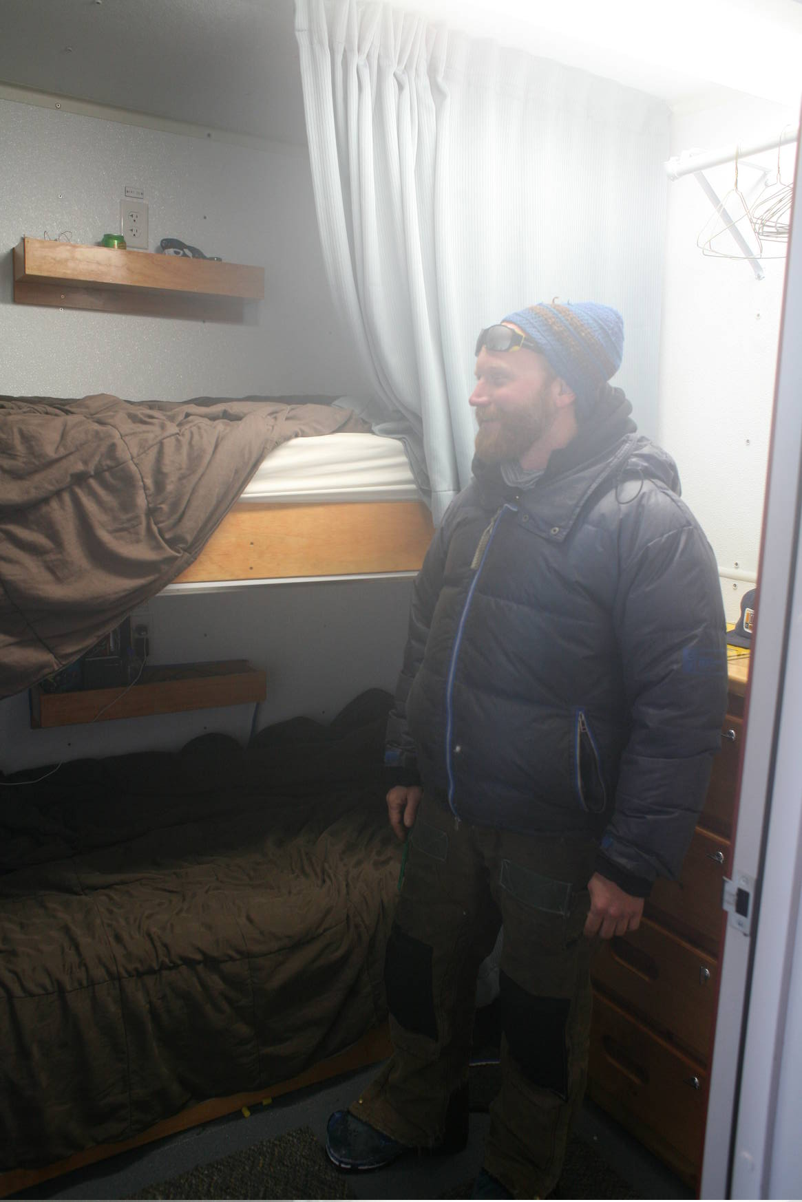 Thanks, Kevin, for giving us a tour! Here he is showing us the bunk beds for sleeping along the trail.