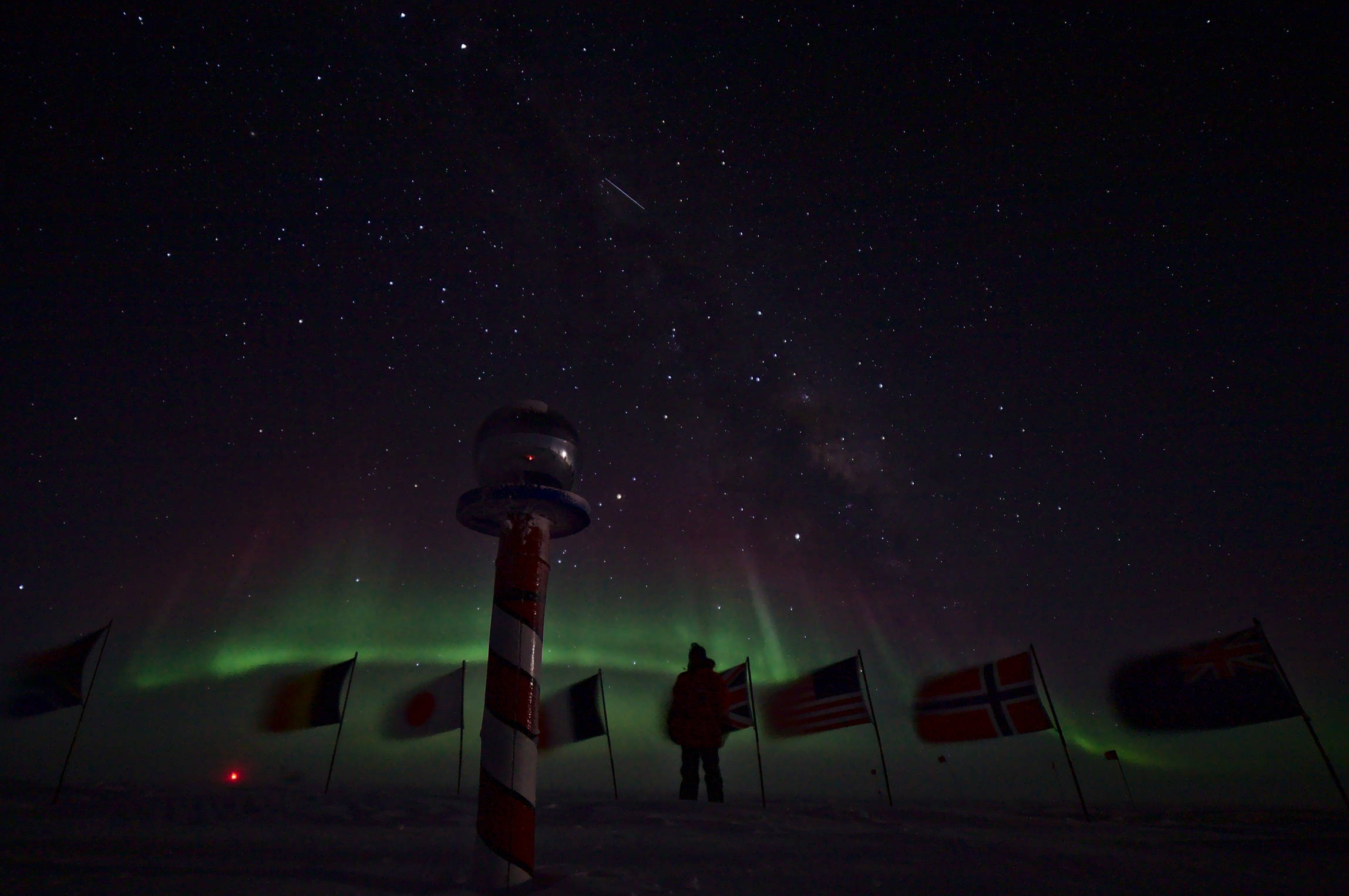 Taking a selfie at the ceremonial south pole